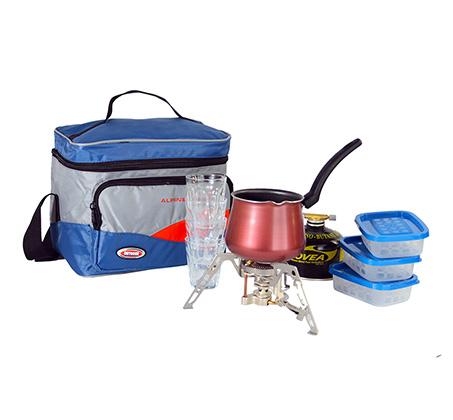 ערכת קפה מקצועית המכילה כירת גז עכביש + מיכל, פינג'ן מטפלון 4 כוסות ו3 קופסאות אחסון