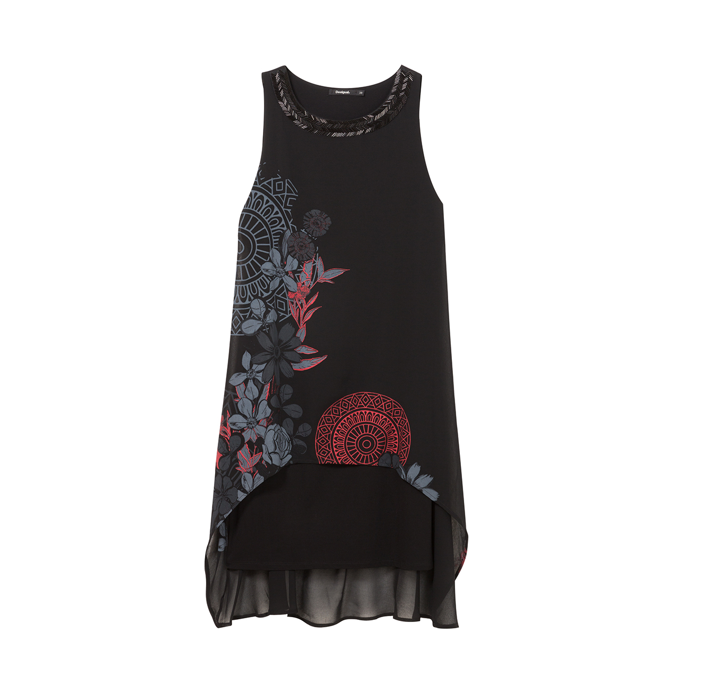שמלת Desigual SIENA עם צווארון עגול מעוטר בחרוזים - שחור