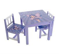 סט שולחן ושני כסאות בשילוב עץ מלא במגוון דמויות וצבעים