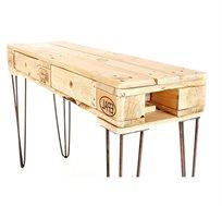 שולחן גבוה עם רגלי ברזל כולל 2 מגירות