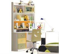 ספריה עם יחידת מגירות וכוננית מדפים + כסא מחשב איכותי מעץ