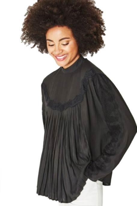 חולצת משי בעיצוב ייחודי PROMOD לנשים - שחור