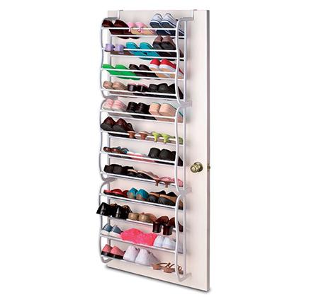 מתקן נתלה על הדלת לאחסון עד 36 זוגות נעליים