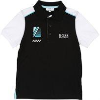 BOSS בוס חולצת צוווארון (2-16 שנים) - שחור לוגו לבן