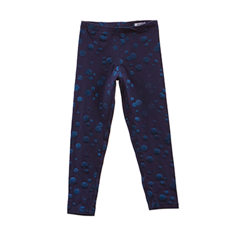 טייץ סטרצ'י OVS לילדות בצבע כחול עם נקודות נוצצות