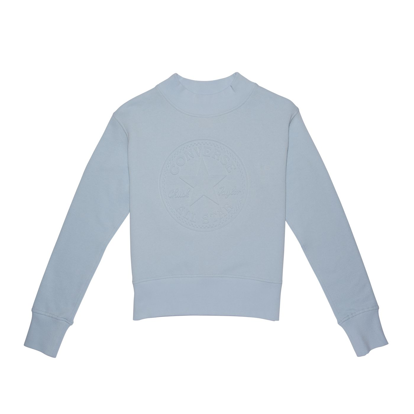 Converse// Embossed Chuck Patch Mock Neck Baby Blue