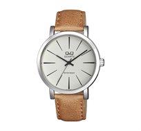 שעון יד אנלוגי לגבר Q&Q - קאמל/שמנת