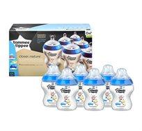 """מארז 6 בקבוקים לתינוקות 260 מ""""ל מסדרת הכי טבעי כמו אמא עם פטמה בזרימה איטית שלב 1 Tommee Tippee"""