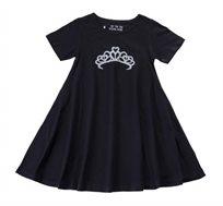 שמלה מסתובבת כתר כסוף בצבע שחור