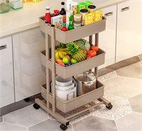 עגלת מטבח ניידת בעלת 3 קומות לאחסון מוצרים