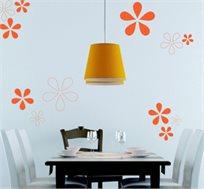 מדבקת קיר - פלאוארס מסדרת FREE STYLE, מורכבת מאלמנטים המתאימים לעיצוב הבית בטעם אישי