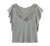 חולצה קצרה עם עיטורי חרוזים PROMOD בצבע אפור בהיר