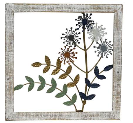 קישוט קיר מתכתי עם מסגרת בצורת ענפים ופרחים