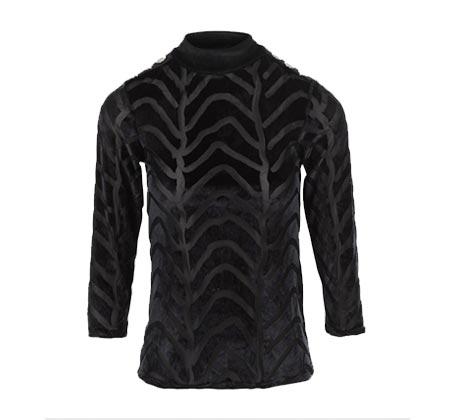חולצת בד שחורה לנשים MORGAN בשילוב הדפס זברה