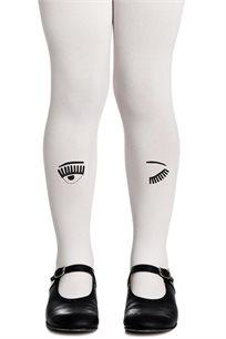 גרביון עם הדפס שחור Wink Wink Girls Cream בצבע קרם