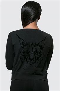 חולצת קטיפה בגזרת קרופ לנשים עם שרוולים ארוכים בצבע שחור