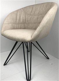 כסא מעוצב דגם אמילי מבד קטיפה איכותי צבע אבן רגליים שחורות