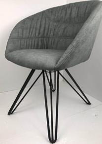 כסא מעוצב דגם אמילי מבד קטיפה איכותי צבע אבן רגליים שחורות - תמונה 5
