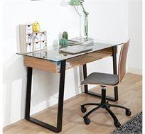 שולחן עבודה ולימודים בסגנון אורבני עשוי זכוכית וברזל בשילוב מגירת עץ פתוחה