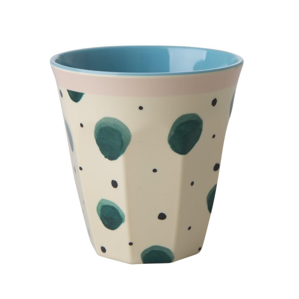 כוס מלמין טוטון צבעי מים ירוק רקע שמנת - Rice