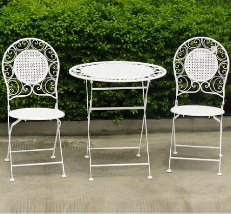 צעיר מושלם לגינה ולמרפסת! שולחן ו-2 כיסאות מתקפלים ממתכת, קלים במיוחד SR-01