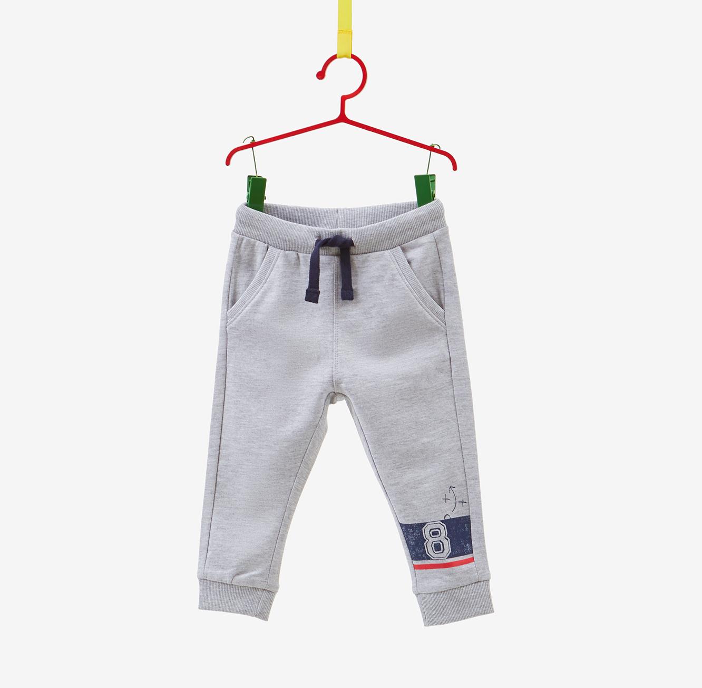 מכנסיים עם שרוך והדפס OVS לילדים - אפור