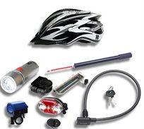 סט אביזרים לרוכבי אופניים הכולל קסדה ומגוון אביזרי בטיחות
