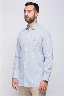 חולצה מכופתרת SLIM FIT לגבר POLO RALPH LAUREN לבנה עם פסים כחולים