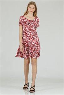 שמלה מיני פרחוני אדום - CUBiCA