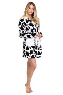 חלוק PILPEL לנשים דגם פרה בצבעים שחור לבן