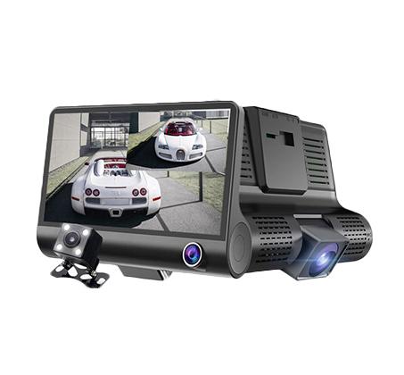 מצלמת דרך לרכב באיכות HD עם צג ענק 4 אינץ ו- 3 עדשות לצילום פנורמי - משלוח חינם - תמונה 2