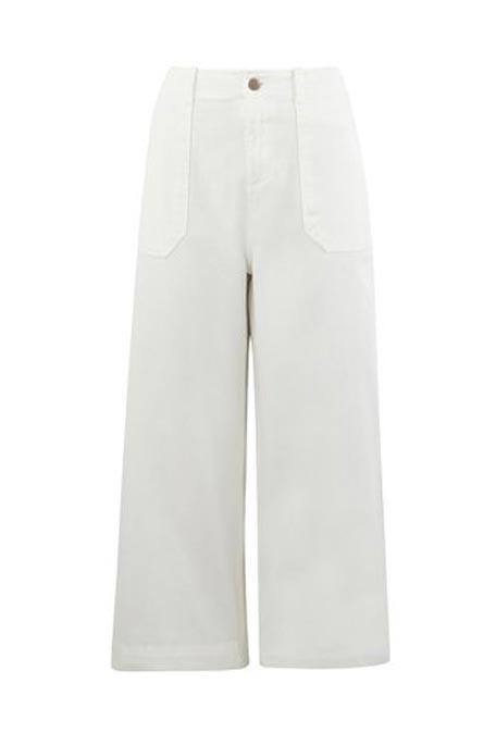 מכנסי כותנה 7/8 רחבות גזרה גבוהה PROMOD לאישה - לבן