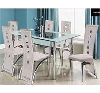 פינת אוכל בשילוב של זכוכית וניקל + 6 כיסאות דגם LORETO white