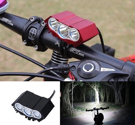 פנס לד מקצועי לרוכבי אופניים עמיד בגשם עם עוצמת תאורה עד 6000 לומן, 3 נורות לד ו-4 מצבי תאורה - תמונה 6