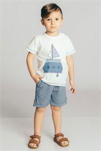 חולצת טריקו קצרה בשילוב פאץ' סירה לבנים Kiwi בצבע לבן/כחול