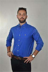 חולצה מכופתרת כחול רויאל CLASSIC FIT לוגו צהוב POLO RALPH LAUREN