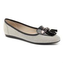 Beira Rio Sapato Feminino - נעלי מוקסין בעיטור פרנזים לנשים בצבע שחור פסים מבית המותג בריה-ריו