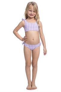 סט ביקיני משבצות לילדות Pilpel בצבע סגול