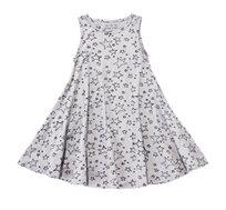 שמלה מסתובבת בהגזמה ללא שרוולים בצבע אפור בשילוב הדפס כוכבים