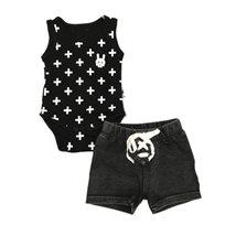 Oro חליפת בגד גוף (3 חודשים - 2 שנים) - איקסים שחור