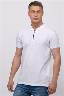 חולצת פולו פיקה בשילוב רוכסן בצבע קונטרסטי