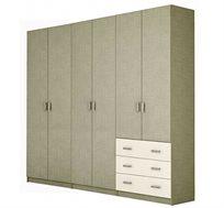 ארון תליה 6 דלתות עם מדפים ומגירות דגם SHIR במגוון צבעים לבחירה