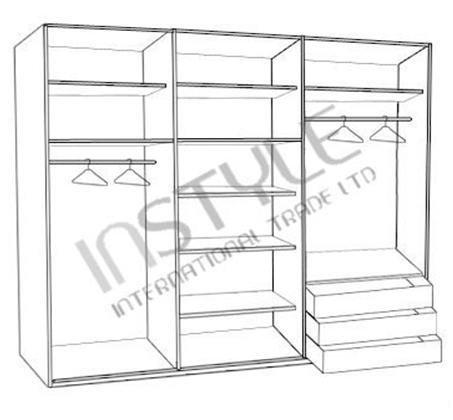 ארון בגדים 6 דלתות עם פסי תליה, מגירות ומדפים דגם SHIR במגוון צבעים לבחירה - תמונה 2