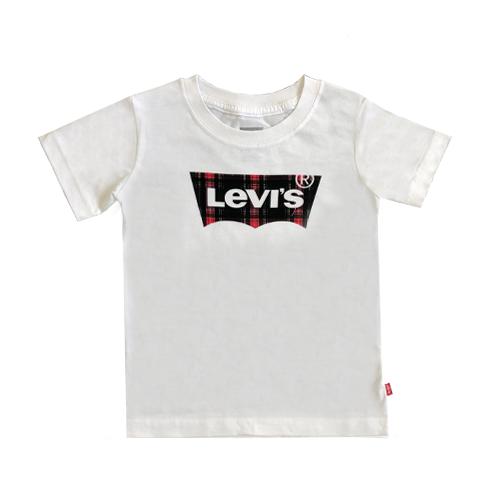 Levis/  טישרט - (13-2 שנים) לבן לוגו משובץ