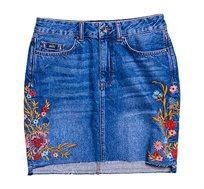 חצאית ג'ינס מיני בעיטור פרחים - כחול