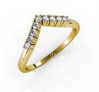 טבעת V זהב 14K צהוב, לבן או אדום לבחירה