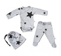 חליפת ניו בורן עם הדפס כוכבים BABY ROCK בצבע אפור