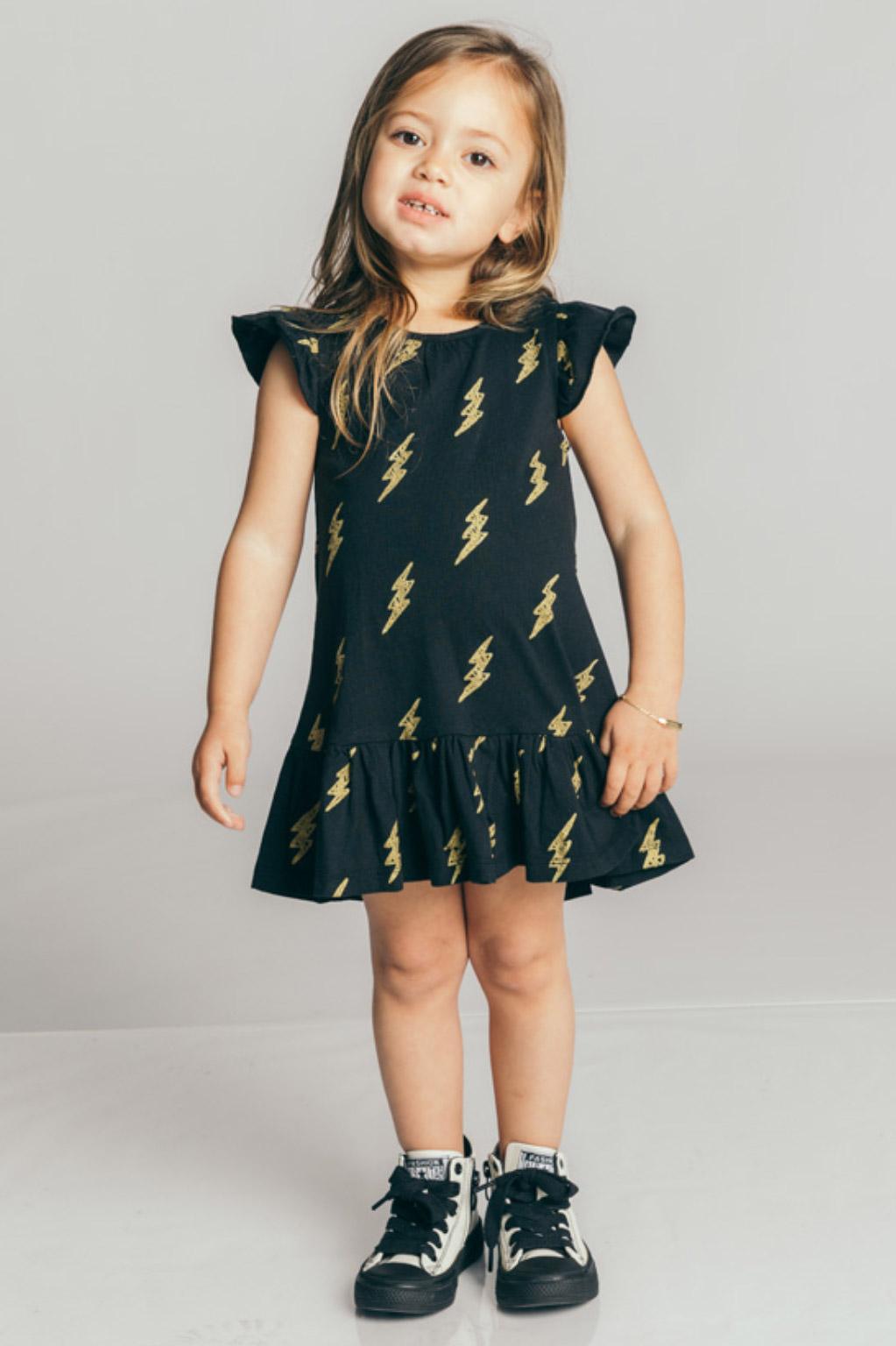 שמלת טריקו לילדות - שחור