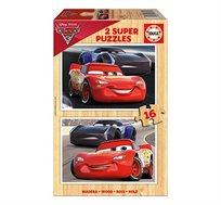 משחק הרכבה הכולל 2 פאזלים מעץ 16 חלקים בדגמי CARS 3