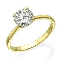 """טבעת יהלום """"דייזי"""" 0.75 קראט זהב צהוב"""